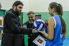 Competition in the Gomel region of Belarus in volleyball under the auspices of the Orthodox Church. Royalty Free Stock Photos