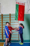 Competition in the Gomel region of Belarus in volleyball under the auspices of the Orthodox Church. Stock Photo