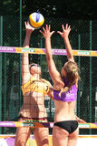 Competition in the grid beach 1. Legionowo, Poland - May 28, 2015 - one of the tournaments within the Polish championship in volleyball Stock Photography