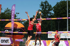 Competition in the grid beach 3. Legionowo, Poland - May 28, 2015 - one of the tournaments within the Polish championship in volleyball Stock Photography