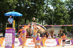 Competition in the grid beach 2. Legionowo, Poland - May 28, 2015 - one of the tournaments within the Polish championship in volleyball stock image