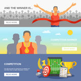 Competition Horizontal Banners. With champion awarded ceremony and sports reward and elements in flat style vector illustration Stock Images