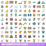 100 competition icons set, cartoon style. 100 competition icons set. Cartoon illustration of 100 competition vector icons isolated on white background Royalty Free Stock Photography