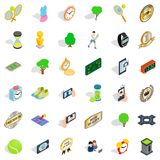 Competition icons set, isometric style. Competition icons set. Isometric style of 36 competition vector icons for web isolated on white background Royalty Free Stock Photo