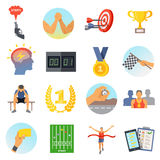 Competition Icons Set. Of sports rewards prizes athletes and accessories in flat style isolated vector illustration Stock Images