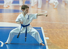 Competition karatekas at the qualification exam. Stock Image