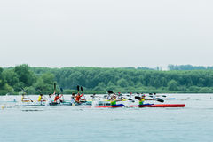 Competition kayaks Stock Images