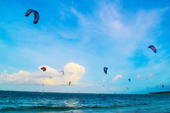 Competition kite boarders on a background of the sea horizon and the bright blue sky Royalty Free Stock Photos