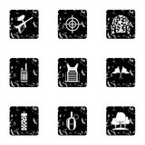 Competition paintball icons set, grunge style Stock Photo