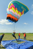 Competition of parachutists on landing accuracy Royalty Free Stock Images