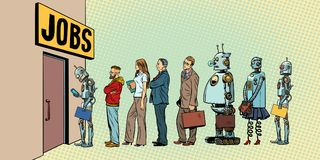 Competition of people and robots for jobs. Technological revolution. Unemployment in the digital world. Pop art retro vector illustration Royalty Free Stock Photo