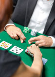 Competition between poker players Royalty Free Stock Images