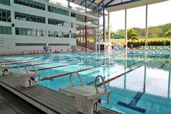 Competition pool. An olympic size swimming pool Stock Image