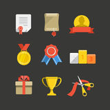 Competition prizes icon set Royalty Free Stock Photos