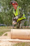 Competition of professional skill `Woodcutter` in the Kaluga region of Russia. July 11, 2019 in the Kaluga region held a competition of professional skills ` royalty free stock image