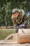 Competition of professional skill `Woodcutter` in the Kaluga region of Russia. July 11, 2019 in the Kaluga region held a competition of professional skills ` stock images