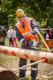 Competition of professional skill `Woodcutter` in the Kaluga region of Russia. July 11, 2019 in the Kaluga region held a competition of professional skills ` stock image