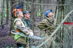 Competition of professional skill `Woodcutter` in the Kaluga region of Russia. July 11, 2019 in the Kaluga region held a competition of professional skills ` stock photos