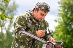 Competition of professional skill `Woodcutter` in the Kaluga region of Russia. July 11, 2019 in the Kaluga region held a competition of professional skills ` royalty free stock photos