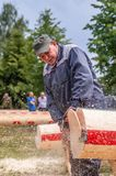 Competition of professional skill `Woodcutter` in the Kaluga region of Russia. July 11, 2019 in the Kaluga region held a competition of professional skills ` royalty free stock photography
