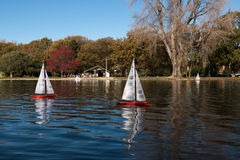 Competition of remote controlled model yachts, Christchurch, Ne Stock Image