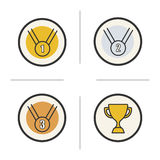 Competition rewards color icons set. Winner cup, gold, silver and bronze medals. Sport games award ceremony items. Isolated vector illustrations Royalty Free Stock Photography