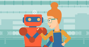 Competition between robot and human. Royalty Free Stock Photos