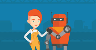 Competition between robot and human. royalty free illustration