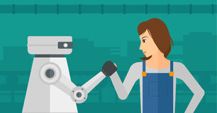 Competition between robot and human. stock illustration