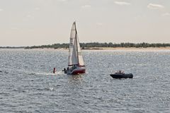 Competition sailing on the Volga dedicated to the celebration of Stock Photography