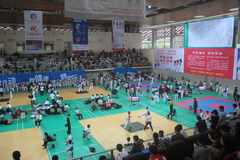 The competition site for Shenzhen Taekwondo Championship Stock Images