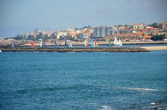 Competition of small sailing boats near the city of Porto Stock Photography