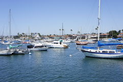 A Competition. Of the speed boats are getting ready parked at the sea water in New Port Beach Stock Images