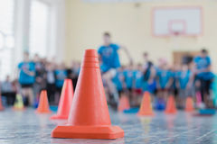 Competition in the sports hall. Of the school Royalty Free Stock Photos