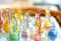 Competition success concept : chess board game ,intelligence strategy challenge. Selective focus stock photography
