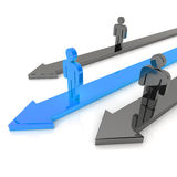 Competition with three arrows(blue) Royalty Free Stock Photos