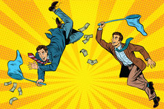 Competition, two businessmen catching money with a butterfly net Stock Photos
