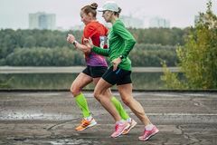 Competition two girls athletes Royalty Free Stock Images