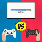 Competition in the video game. Hands hold gamepad. Vector illustration. Competition in the video game. Hands hold gamepad and monitor with loading bar. Gamers Royalty Free Stock Photo