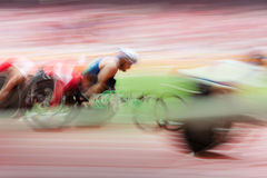 Competition wheelchair in motion Stock Photography