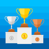 Competition winners podium with gold, silver and bronze trophy cups. Winner sport silver cup and gold. Vector illustration Stock Photos