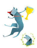 Competition Winning Red Happy Dog Jumping with Cup Stock Image