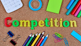 Competition word on cork background. Closeup Royalty Free Stock Image