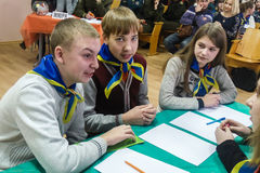A competition among youth teams brain-ring in the Gomel region of Belarus. Royalty Free Stock Photography