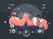 Competitions in armwrestling. Two athletes compete in wrestling. Vector illustration Royalty Free Stock Photography