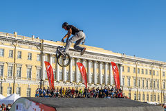Competitions the BMX riders at  youth day in St.Petersburg,Aleks Royalty Free Stock Images