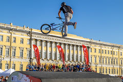 Competitions the BMX riders at  youth day in St.Petersburg,Aleks Royalty Free Stock Photography