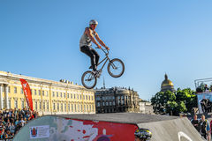 Competitions the BMX riders at  youth day in St.Petersburg, ,Rus Stock Images