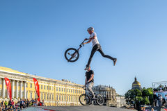 Competitions the BMX riders at  youth day in St.Petersburg,Victo Stock Photos