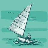 Competitions of boats on the water vector illustration